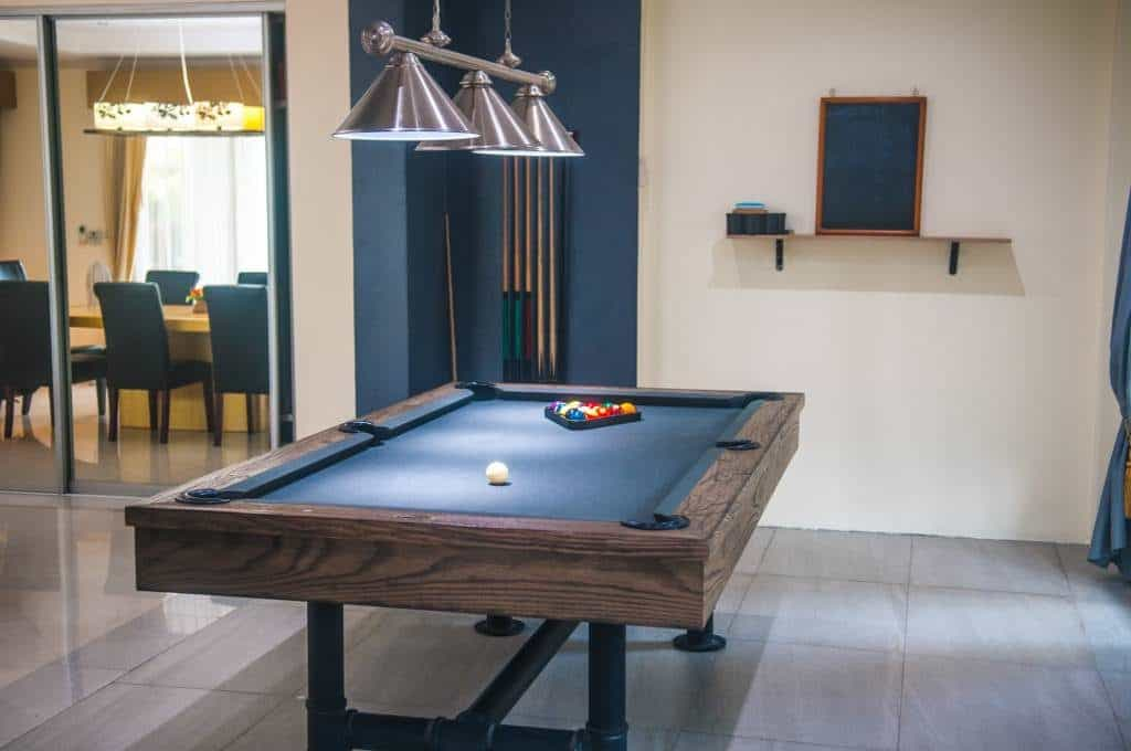 huge living room with pool table